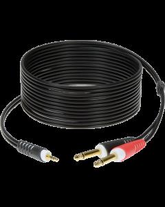 câble y fiche mini jack 3,5 mm - 2x fiche jack 6,35 mm